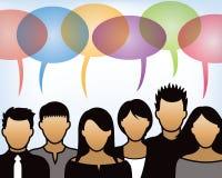 Folk som tillsammans talar stock illustrationer