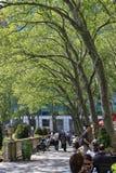 Folk som tycker om en trevlig dag i Bryant Park Royaltyfria Bilder