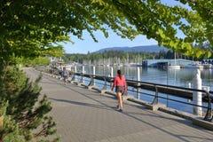Folk som tycker om scenisk Vancouver strand royaltyfria foton