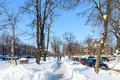 Folk som tycker om Sunny Winter Day Following en stark snöstorm i den i stadens centrum Bucharest staden Arkivbilder