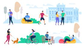 Folk som utför utomhus- aktiviteter för sommarstad stock illustrationer