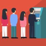 Folk som väntar i linjen kö för att dra pengar från för kassörmaskin för självbetjäning ATM automatiserad illustration för vektor Royaltyfri Bild