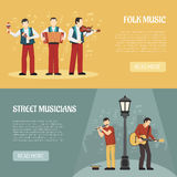 Folk And Street Musicians Horizontal Banners Royalty Free Stock Images