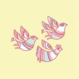 Folk style birds Stock Photos