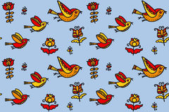 Folk style birds childish hand drawn image. Stock Photo