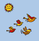 Folk style birds childish hand drawn image. Stock Photos