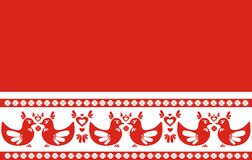 Folk style border - hearts and birds, illustration Royalty Free Stock Photos