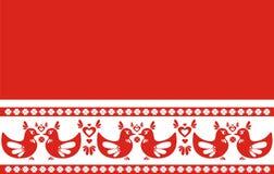Folk style border - hearts and birds, illustration vector illustration