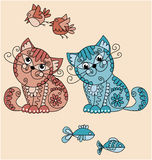 Folk-style cats with birds and fish. Fanny cats with food vwctor illustration Stock Photos
