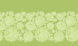 Folk-style floral decorative border pattern Royalty Free Stock Photo