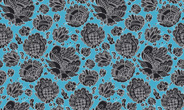 Folk-style floral decorative seamless pattern Royalty Free Stock Images
