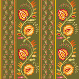 Folk style floral ornament. Bright floral seamless ornament with flowers in folk style royalty free illustration
