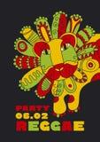 Folk style lion  reggae mascot. color music poster. Royalty Free Stock Photo