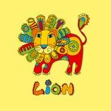 Folk style lion Royalty Free Stock Image