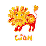 Folk style lion Royalty Free Stock Photo