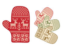 Folk style mittens with deers Royalty Free Stock Photo