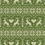 Folk style seamless pattern with deer ornament. Royalty Free Stock Images