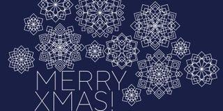 Folk style snowflakes Christmas decorative motif. Luxury xmas snowflakes geometric illustration winter design projects, office party invitation, postcards stock illustration