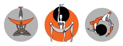 folk stylized yoga Fotografering för Bildbyråer