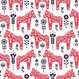 Folk swedish horse floral seamless vector pattern. vector illustration