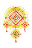 Folk talisman mandala in watercolors Stock Photography