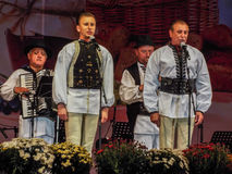 Folk traditional singers at Fair Bucharest 2016. Picture with  faimous singers of romanian traditional music at fair bucharest 2016, romanian tradition on the Stock Photo