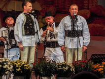 Folk traditional singers at Fair Bucharest 2016. Picture with  faimous singers of romanian traditional music at fair bucharest 2016, romanian tradition on the Royalty Free Stock Images
