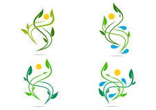 Folk växt, vatten som är naturligt, logo, hälsa, sol, blad, ekologi, uppsättning för vektor för symbolsymbolsdesign royaltyfri illustrationer