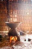 Folk wisdom Alcohol distillation process. From sugar palm tree in Myanmar royalty free stock photography