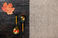 Folk wooden spoons and leaf Stock Photos