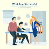 Folkarbete i ett lag och påverkar varandra Affärskommunikation, workflow royaltyfri illustrationer