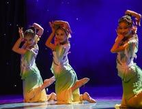 Folkdans för blommaleende-medborgare Arkivfoton
