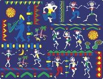 Folkdans på karnevalet stock illustrationer