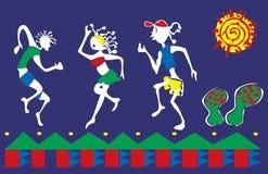 Folkdans på karnevalet royaltyfri illustrationer