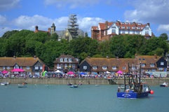 Folkestone England. Folkestone harbour view on nice summer day.Folkestone is a port town on the English Channel, in Kent, south-east England. The town lies on Stock Photos