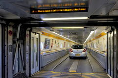 FOLKESTONE, ENGLAND, MAY 07 2016: Connecting doors between carriages on the Euro Tunnel train from Coquelles, France to Folkestone Royalty Free Stock Photography