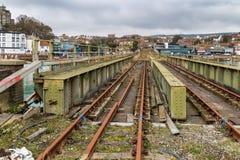 Folkestone, Kent, UK. Old railway bridge at Folkestone Harbour, Kent, UK Stock Photo