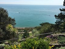 Folkestone Leas. Picture on Folkestone Leas looking down to the park out to the english channel Stock Images