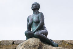 Folkestone Mermaid looking out across English Channel Royalty Free Stock Photos
