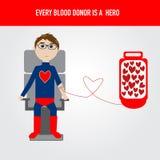 Folket är hjälten för vektor för bloddonation Arkivfoto