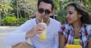 Folket äter tropiska frukter och drinkkokosnötcoctailar som talar Sit Over Palm Trees, lyckliga män och att smaka för kvinnaturis stock video