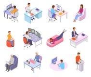 Folket arbetar personen för teckenet för arbetaren för ställevektoraffären som i regeringsställning arbetar på bärbar datordatore stock illustrationer