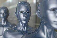 Folket bearbetar med maskin - konstgjord intelligens. Royaltyfria Bilder
