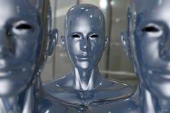Folket bearbetar med maskin - konstgjord intelligens. Royaltyfri Foto