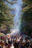 Folket besöker den Honden relikskrin i Nikko, Japan Arkivfoto