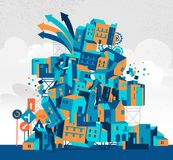 Folket bygger en konstig arkitektur i den stads- mitten stock illustrationer