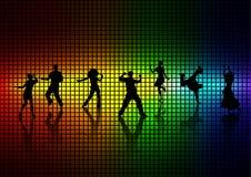 Folket dansar ett disko. Arkivfoton
