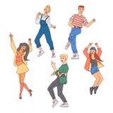 Folket dansar vektorillustrationen ställde in - män och kvinnor för mångfald som unga gör förehavanden och har gyckel stock illustrationer