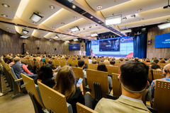 Folket deltar i affärskonferensen Royaltyfria Foton