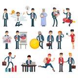Folket för tecken för affärsmän för vektor för affärsfolk arbetar det yrkesmässiga i teamworkillustrationuppsättning av den utöva stock illustrationer